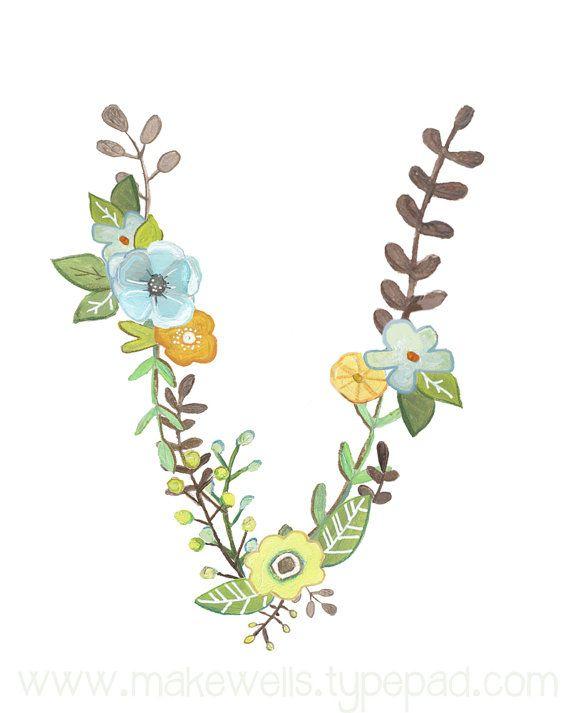 Questa è la mia versione della lettera V - illustrata con la mia mano dipinta disegni floreali. La stampa è disponibile come un 5 x 7 o 8 x 10.