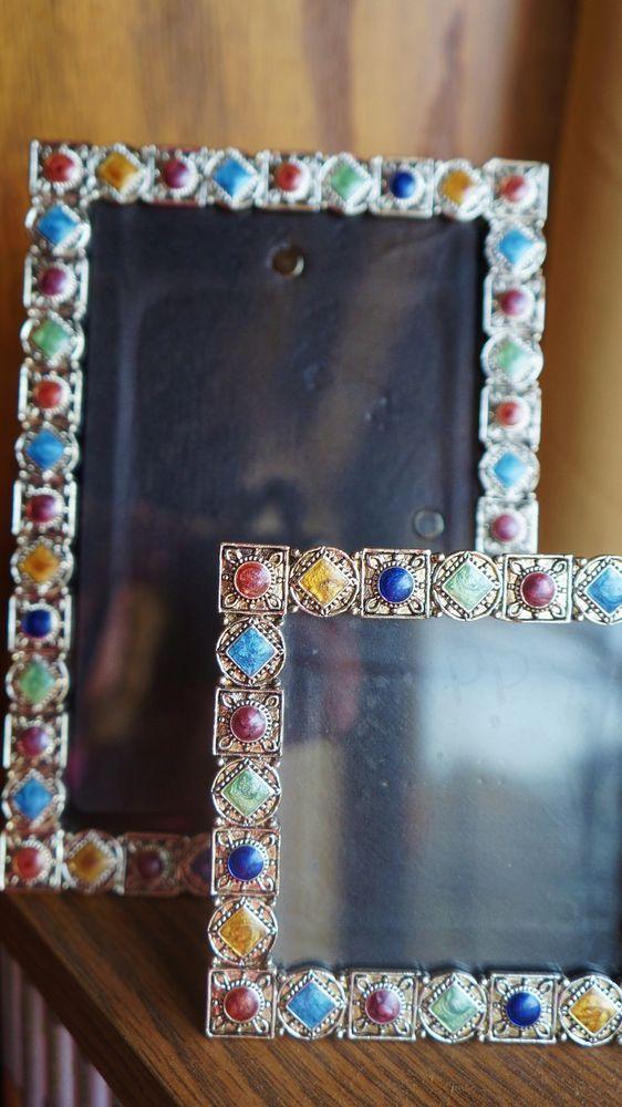 Set of Silver Tone Photo Frames w Multi Color Stone Inlay, Black Velvet Backing #GiftsFirstInc #ArtsCraftsMissionStyle