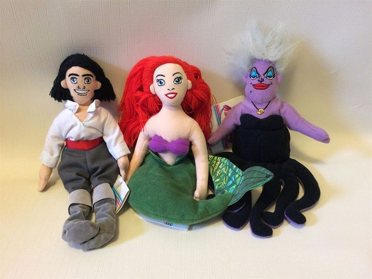 NWT 1990s Little Mermaid Disney Plush Beanies - Set of 3 (Eric, Ariel, Ursula) #Disney