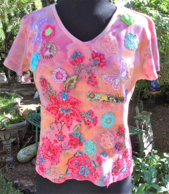 Upcycled Womens Large Pink Floral Tee Shirt by AlteredEgoFashion