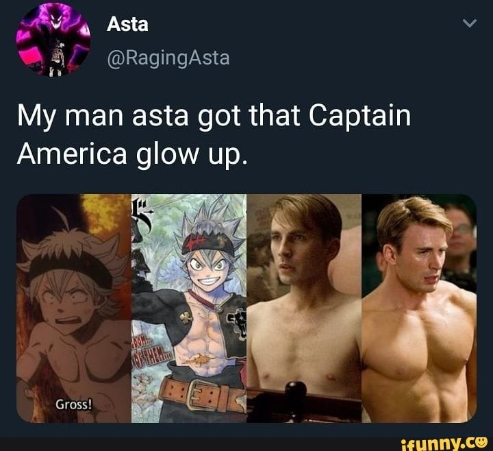 My Man Asta Got That Captain America Glow Up Ifunny Black Clover Manga Black Clover Anime Nerd Memes