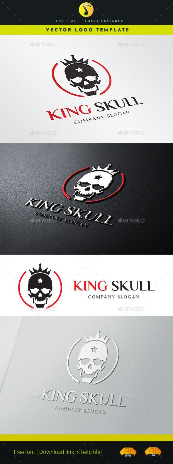 King Skull Logo Template Vector EPS, AI. Download here: http://graphicriver.net/item/king-skull-/11326923?ref=ksioks