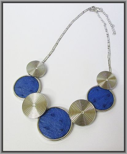Ostrich Leather necklaces - Victoria Blue ON3R4
