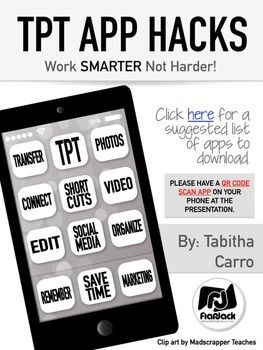Hey, ya'll! This resource is created specifically for my TpT App Hacks presentation at the TpT conference in Las Vegas on July 10th, 2015. The majority of this handout will only be helpful if you are attending, however, there is a link to a list of useful apps that any TpT store owner might find useful.If you are attending, please make sure you have a QR code scan app on your Smartphone.