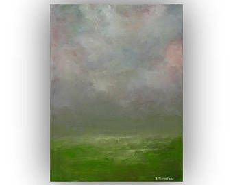 Small Abstract Landscape Painting, Night Sky and Clouds Oil Painting, Green and Gray, 9 x 12 Original Palette Knife Art on Canvas