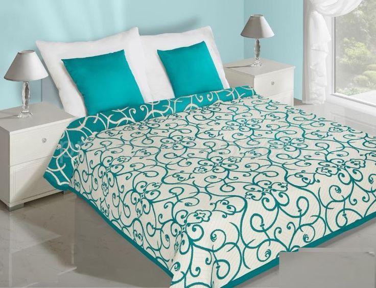 Krémové přehozy na postel oboustranné s tyrkysovými květy