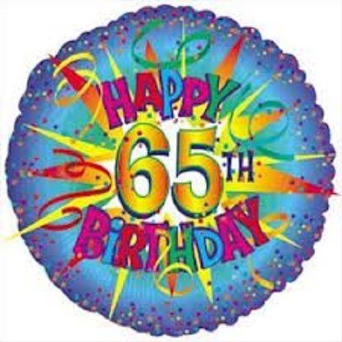 "18"" Happy 65 Th Birthday Burst Mylar Foil Balloon Party Decoration"