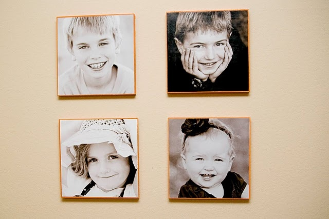 modge podge photos on wood. Sophia and I's art project this weekend! : )