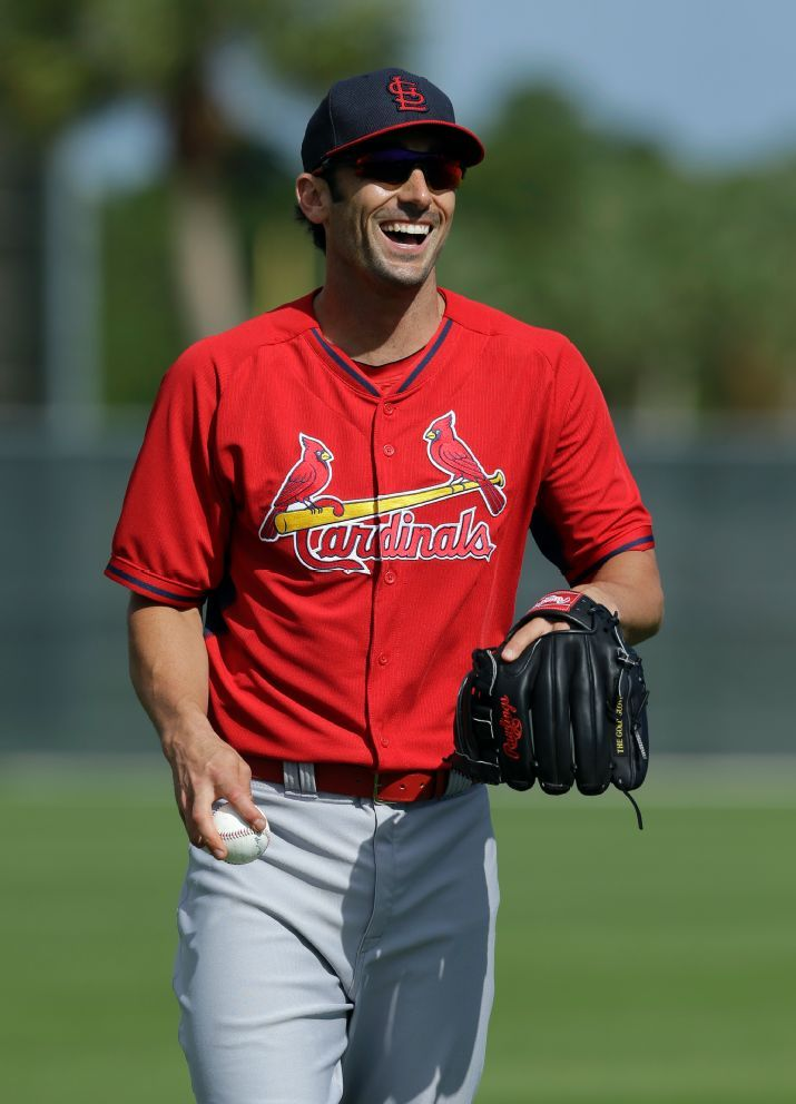 Matt Carpenter laughs as he warms up during spring training 2014  :)