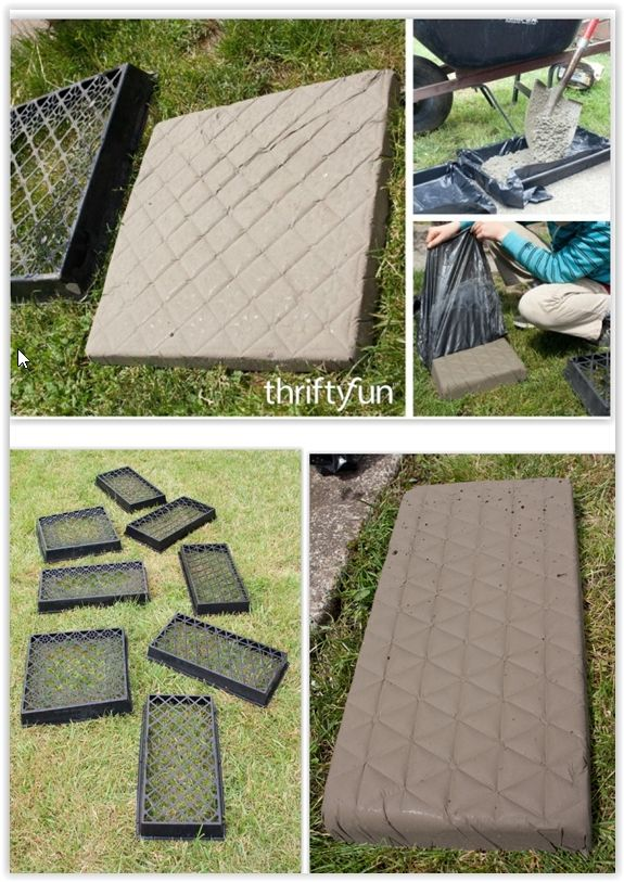 Concrete Stepping Stones Or Pavers Out Of Half Flat Plastic Plant  Containersu2026