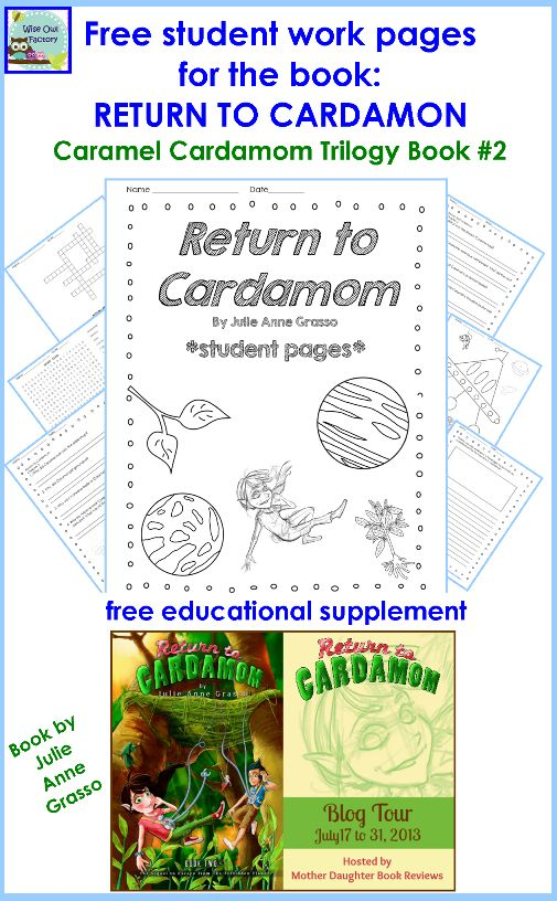 free work pages for RETURN TO CARDAMOM, student work photo of some pages in printable