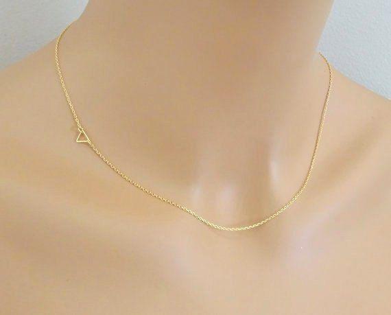 Sideways Tiny Triangle Gold Necklace Layering by LAminiJewelry