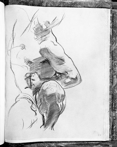 """John Singer Sargent - Study of Torso and Leg for one of Angels at Right, """"Israel and the Law,"""" Boston Public Library"""