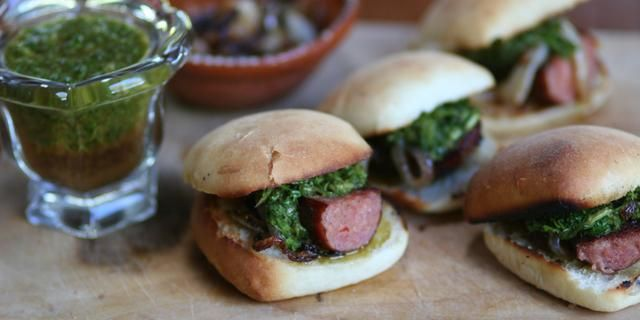 Choripan con Chimichurri (Grilled Sausage Rolls with Spicy Garlic Parsley Sauce)