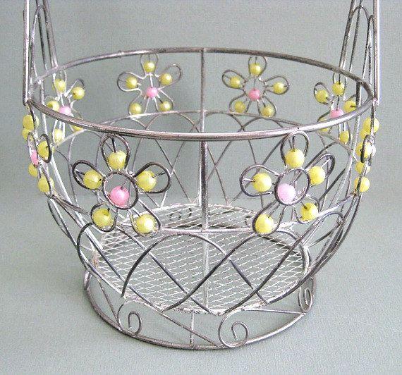 Vintage Metal Basket Decor Wire Basket Bowl by afloralaffair