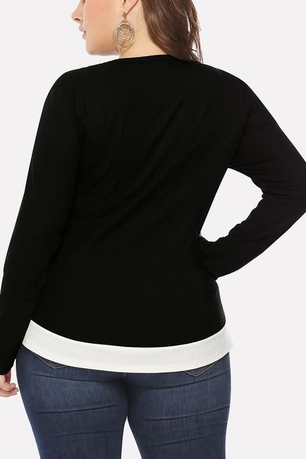 Women Black Ribbed Two Tone Peplum Casual Plus Size Blouse - XXL 1