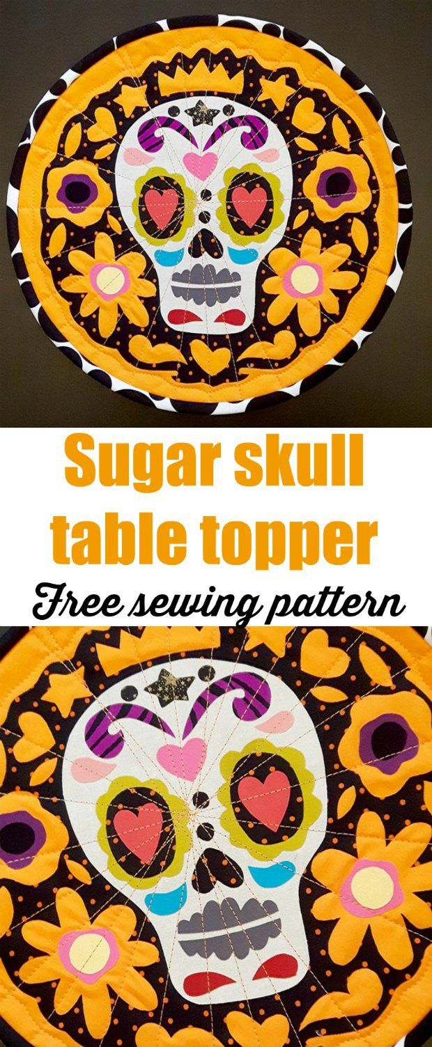 Free sewing pattern with fusible applique motifs. Table centerpiece, quilted. Day of the Dead, Halloween.