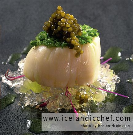 COLD-SMOKED SCALLOP with Vodka Jelly, Scallion Marmalade and Osetra Caviar