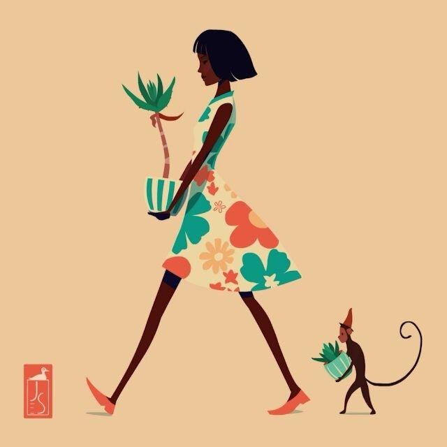 #aloespectabilis  #aloe #succulents #monkey #floralprint #illustration #animation  #アロエ #多肉植物 #猿 #イラストレーション #イラスト #アニメーション