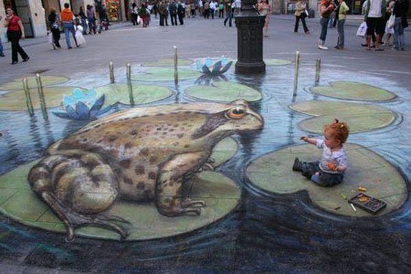 Прикольные рисунки на асфальте — граффити на асфальте