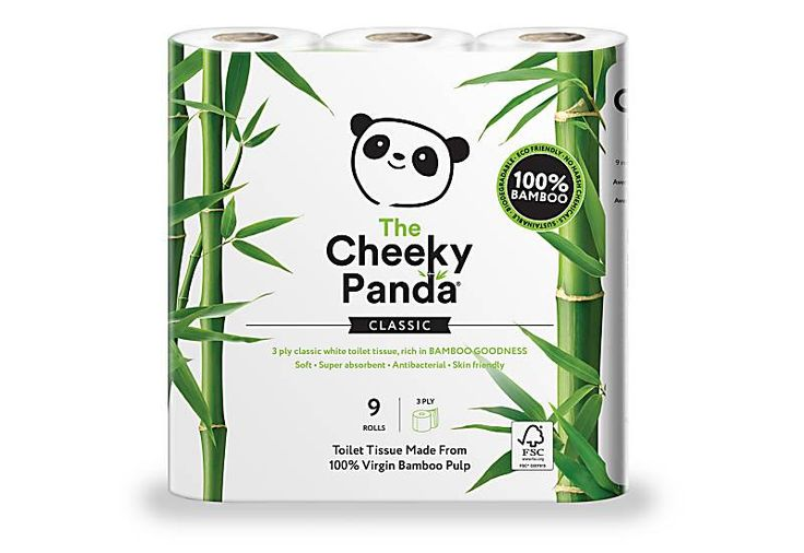 The Cheeky Panda FSC Certified Bamboo Toilet Tissue - 9 Rolls | Big Green Smile £4.99