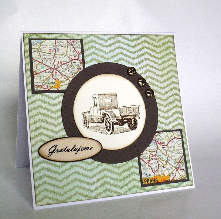 card with car and map