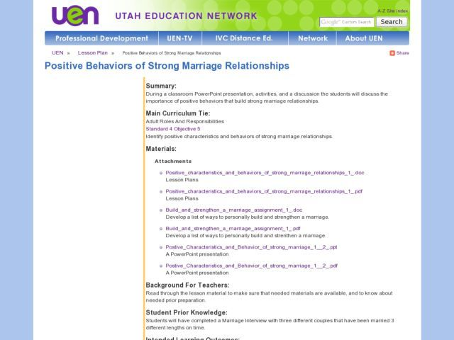 dating relationships lesson plans This english lesson play asks students to create role-plays based on various family relationships in order to consolidate a wide range of skills.