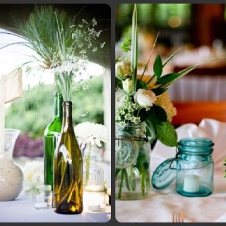 Mason jars and colored glass bottles used for centerpieces for Glass bottle centerpieces