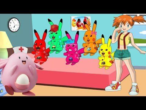 Five Litter Monkeys Jumping on the bed With Mega pikachu pokemon Lyrics ...