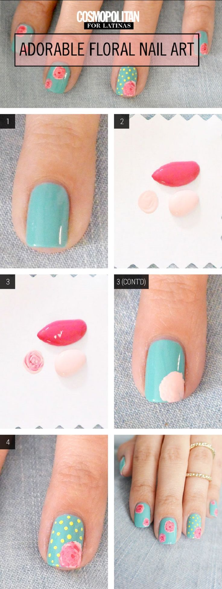 Pretty Floral Manicure - 11 Vibrant Nail Art Tutorials that Scream Summer | GleamItUp