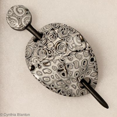 Amazing polymer clay shawl pin. Cynthia Blanton Studio: A showcase of shawl pins
