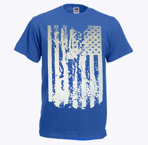 Distressed American Flag Short Sleeve T-Shirt Blue - L #GraphicTee