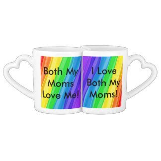 I Love BOTH My Moms!  You Can Customize ALL Text - Coffee Mug Set
