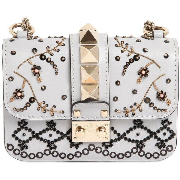 Valentino Women Small Beaded Rockstud Leather Bag ($2,370) ❤ liked on Polyvore featuring bags, handbags, purses, borse, clutches, pastel grey, grey leather handbags, hand bags, gray purse and gray leather purse