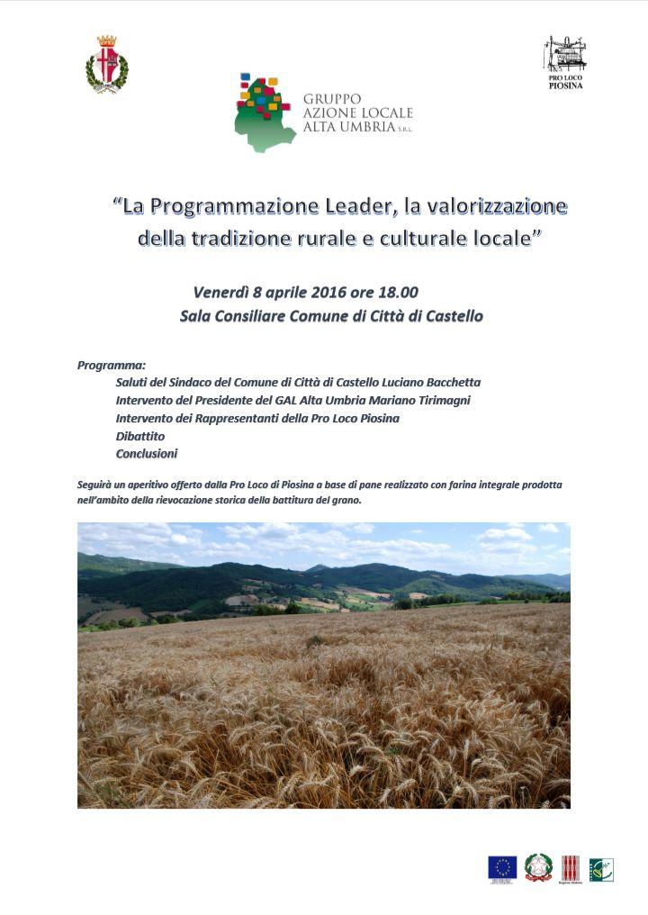 Continuano gli incontri partecipativi del GAL Alta Umbria. Venerdì 8 aprile 2016 siamo a Città di Castello.
