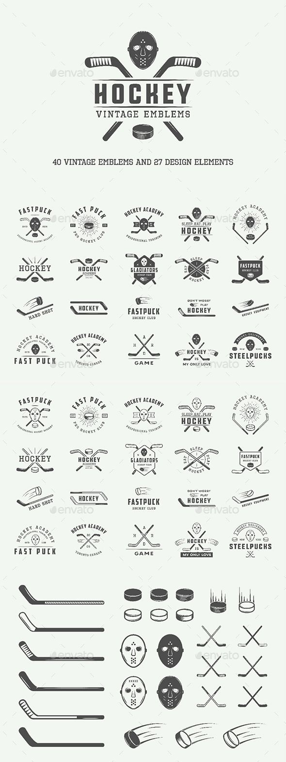 Vintage Hockey Emblems Template PSD, Vector EPS, AI Illustrator