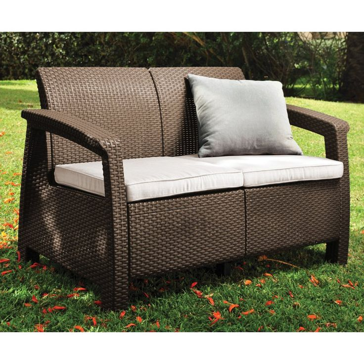 Wicker Patio Loveseat Outdoor Furniture Cushions Deck All Weather Resin Sofa