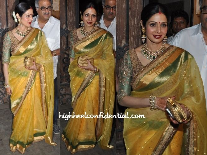 Sridevi attended Karva Chauth celebrations wearing an orange Sabyasachi sari with a green embroidered blouse. Any other occasion and we'd have picked on the overdose of jewellery but given that it was a Karva Chauth ceremony, we won't. ;) Sridevi Celebrates Karva Chauth Photo credit: Viral Bhayani More guilt readingIn SabyasachiIn Sabyasachi In SabyasachiIn Gaurang