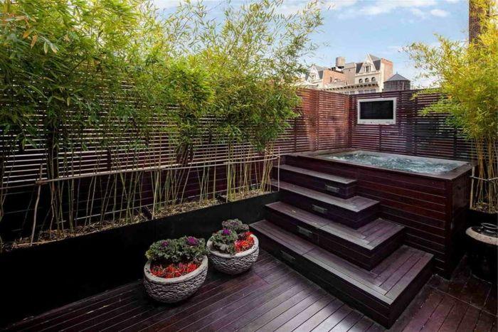 gartenideen für kleine gärten pflanzencontainer treppenstufen