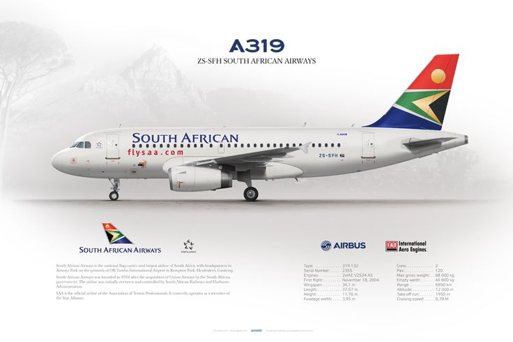 Airbus A319 South African Airways ZS-SFH   www.aviaposter.com   #airbus #a319 #saa #poster