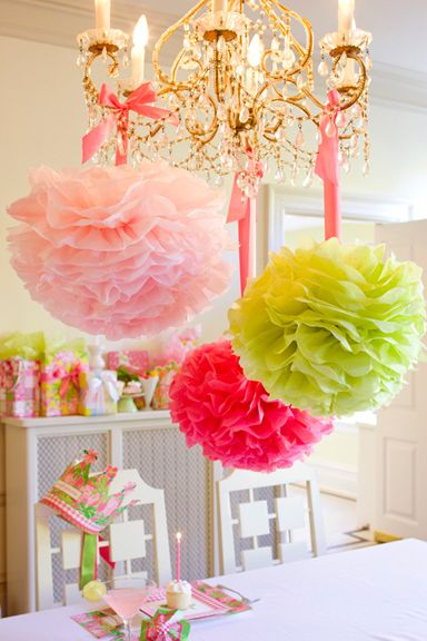 Decorating with Paper Pom Poms!: Lilly Pulitzer, Paper Pom Pom, Decoration, Color, Pompom, Paper Flower, Party Idea, Tissue Paper, Birthday Party