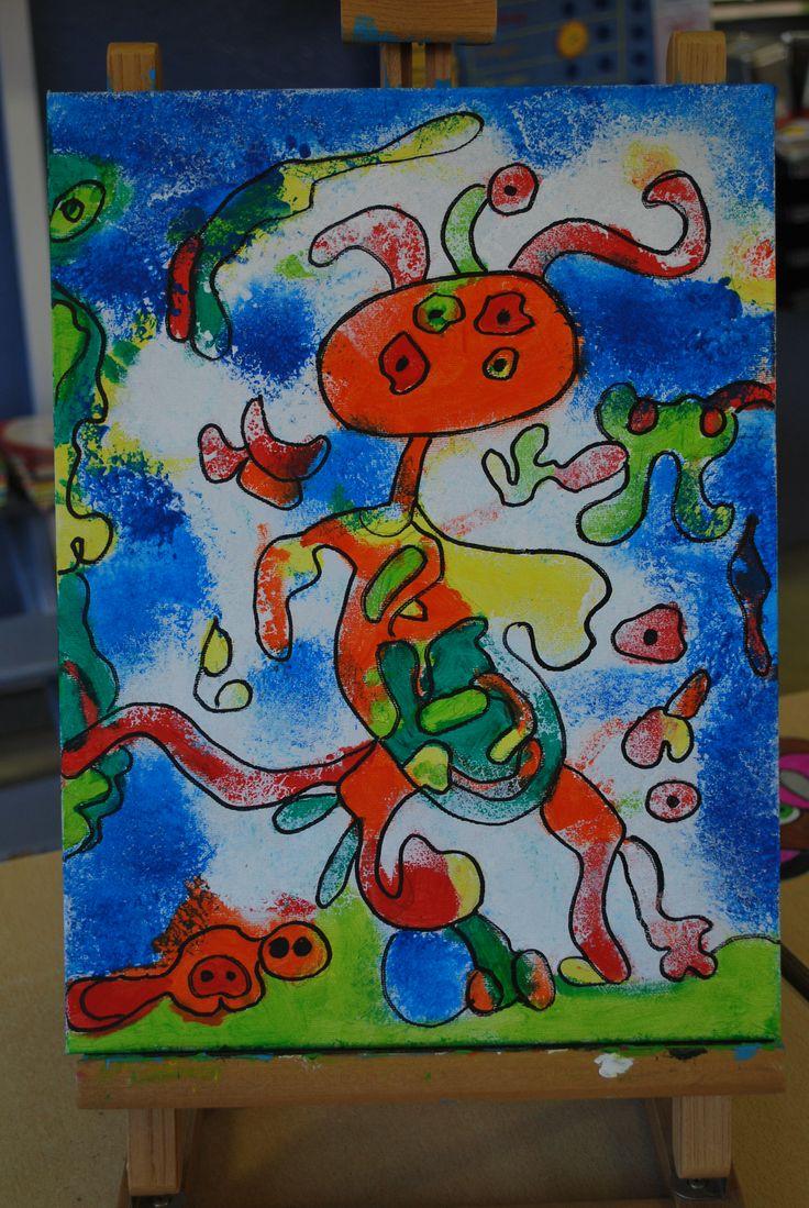 groepswerk op doek in de klas inspiratie Miro, elke kleuter tekent om beurt een stuk erbij/ later zelfde met kleuren