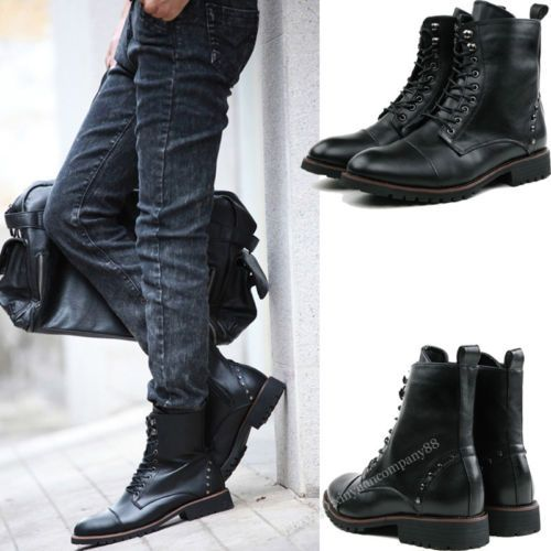 Men's Formal Lace Up High Top Winter Military Boots Black No Wool US 8 MS277 | eBay