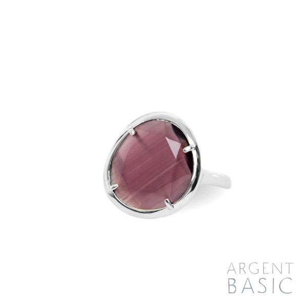 Purple Color. Ring of silver and colored stone.