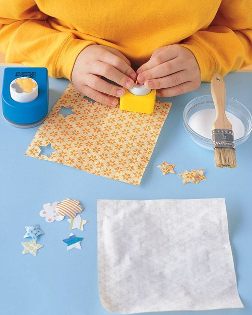 make your own stickers with glue and vinegar: Wrapping Papers, Crafts Punch, White Vinegar, Homemade Stickers, Kids Crafts, Martha Stewart Crafts, Scrapbook Paper, Diy Stickers, Paper Crafts