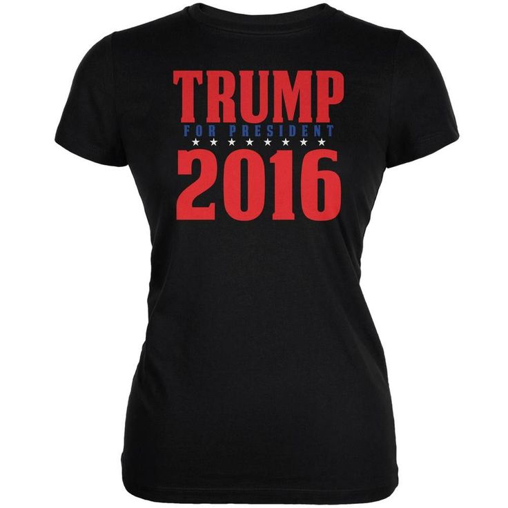 Election 2016 Trump For President 2016 Stacked Black Juniors Soft T-Shirt
