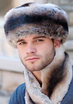 Mens Chinchilla Faux Fur Russian-Style Hat
