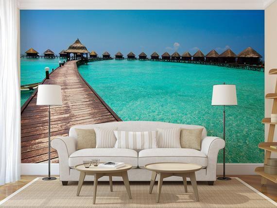 Tropical Villas Mural Self Adhesive Peel And Stick 3d Wall Etsy Wall Murals Mural 3d Wall Murals