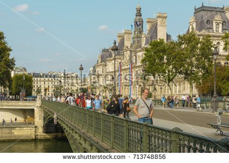 View with Hotel-de-Ville, Paris City Hall building seen from the bridge on August 26, 2017 in Paris, France.