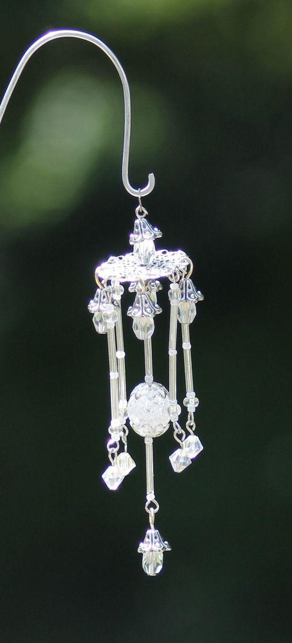 Miniature Fairy Garden Wind Chime, Dollhouse Windchime, Mini Garden Accessory, Silver, White, Clear, on Etsy, $18.00